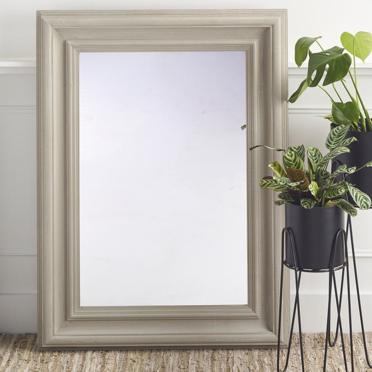 Distressed Wooden Mirror; Grey
