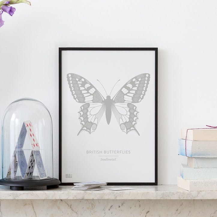 British Butterflies 'Swallowtail' Screen Print, A4, Putty Grey