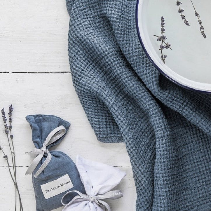Waffle Parisian Bath Towel, Blue