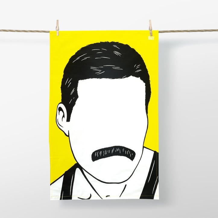 Icon Freddie Mercury Tea Towel Yellow  47cm x 74cm