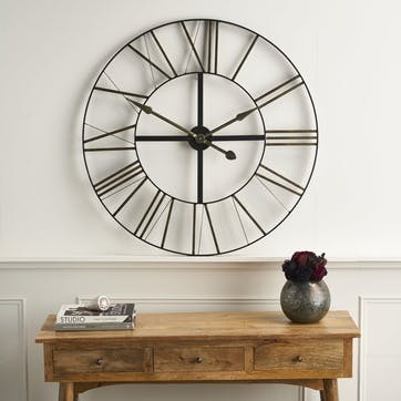 Large Distressed Metal Skeleton Clock
