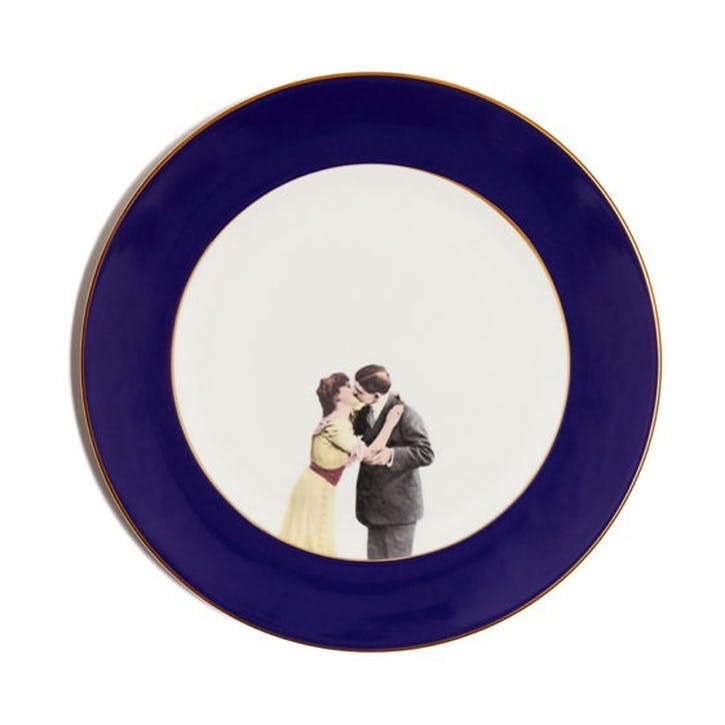 Modern Surrealist Kissing Couple Dinner Plate, Cobalt Blue