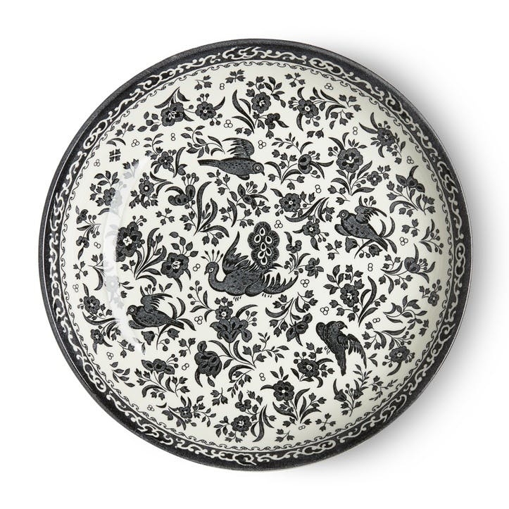 Black Regal Peacock Pasta Bowl, 23cm