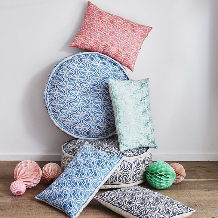 Martha Geometric Cushion - 50cm; Charcoal on Linen