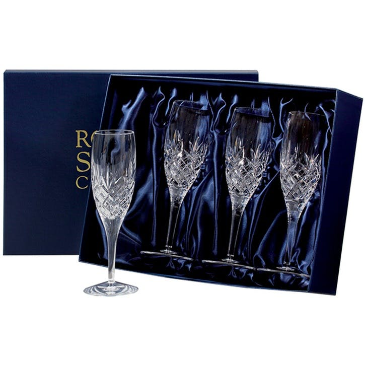 Edinburgh Crystal Flute Champagne Glasses, Set of 4