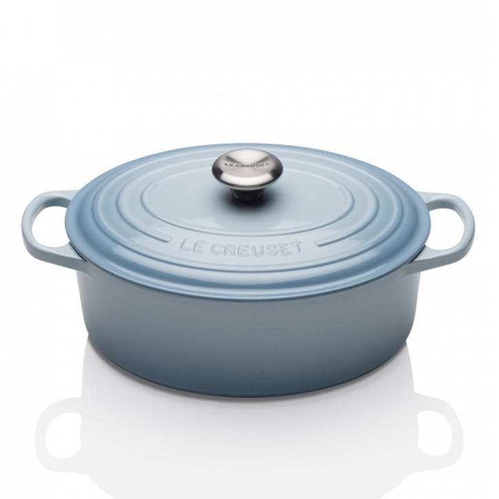 Cast Iron Oval Casserole - 25cm; Coastal Blue