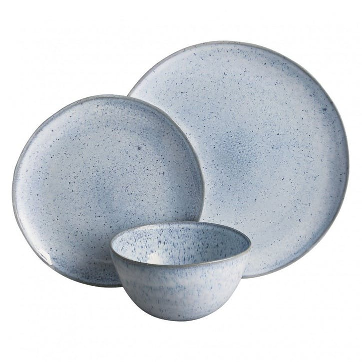Olmo 12 Piece Dinnerware Set, Light Blue