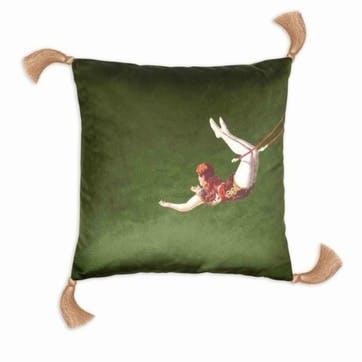 Trapeze Girl Velvet Cushion, Meadow Green