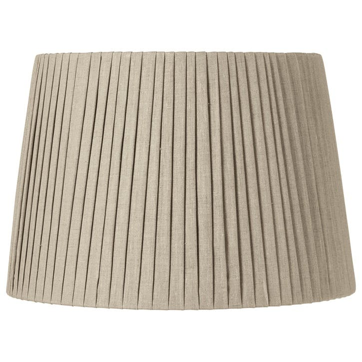 Pleated Linen Lampshade, 45cm, Natural Beige
