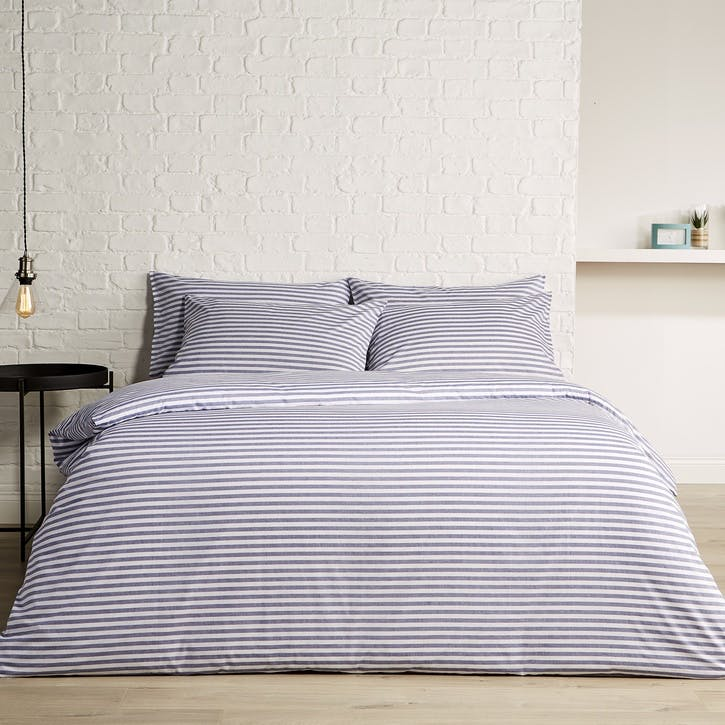 Pyjama Stripe Super King Duvet Set, Indigo
