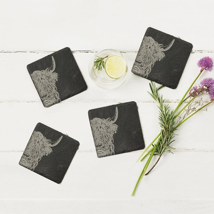 Highland Cow Coaster, Set of 4