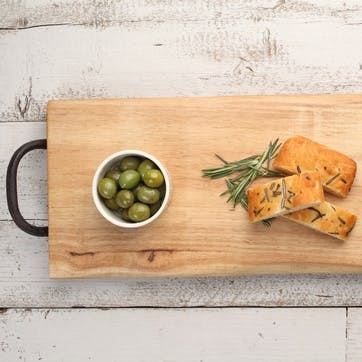 Large Serving Board with Cast Iron Handles