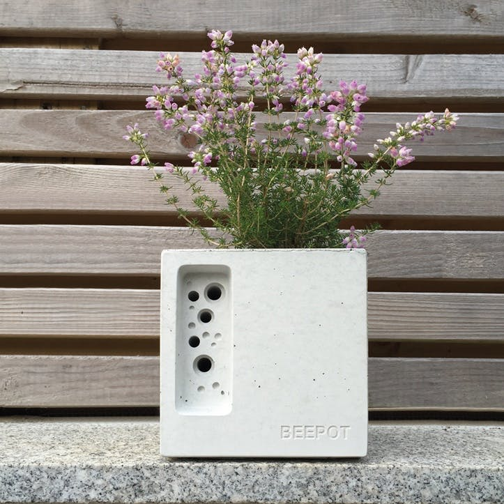 Beepot Concrete Planter and Bee House - Mini; White