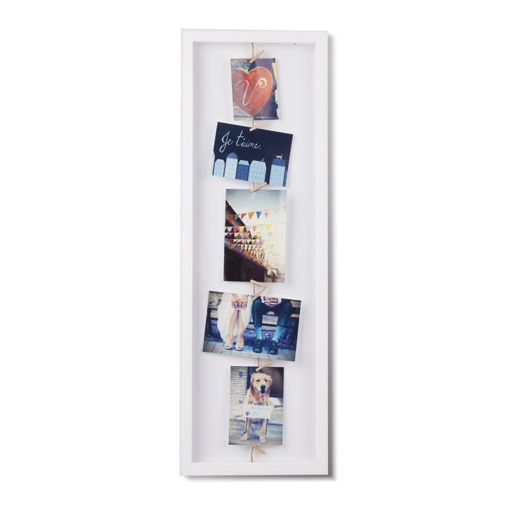 Clothesline Flip Photo Display, White