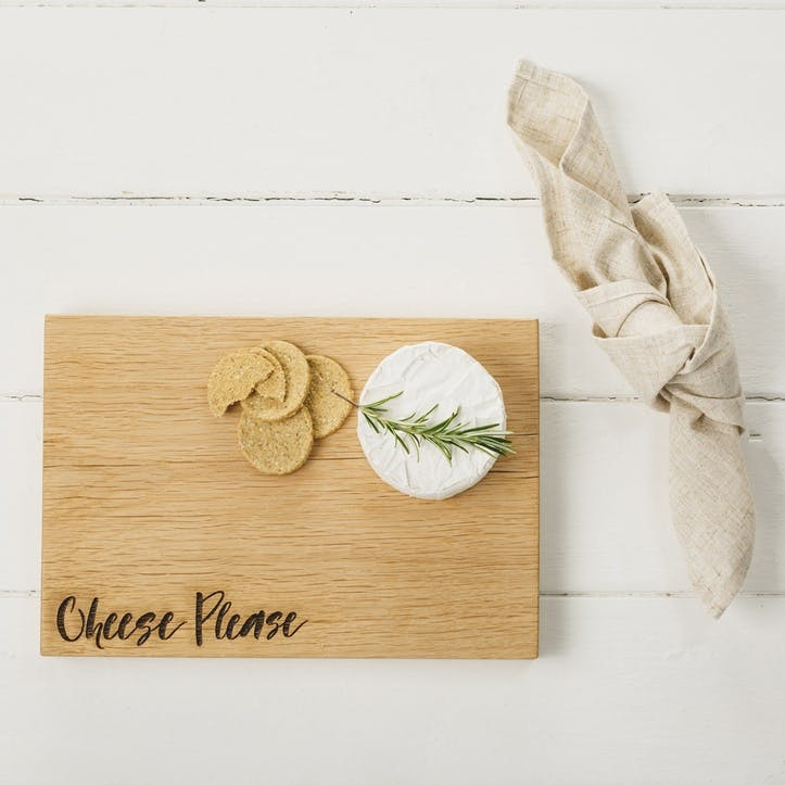 """Cheese Please"" Oak Chopping Board"
