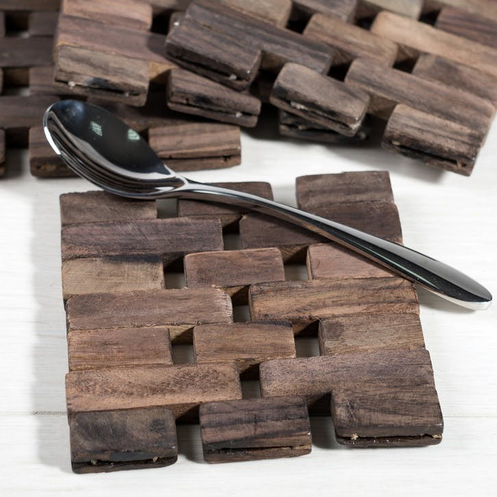 Naturals Dark Slatted Wood Coasters, Set of 4