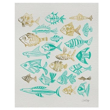Cat Coquillette Fish Inklings Canvas, 40 x 50cm