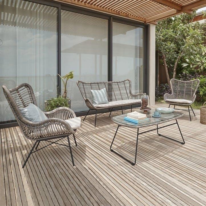 Brisbane 4 Piece Lounge Set, Grey