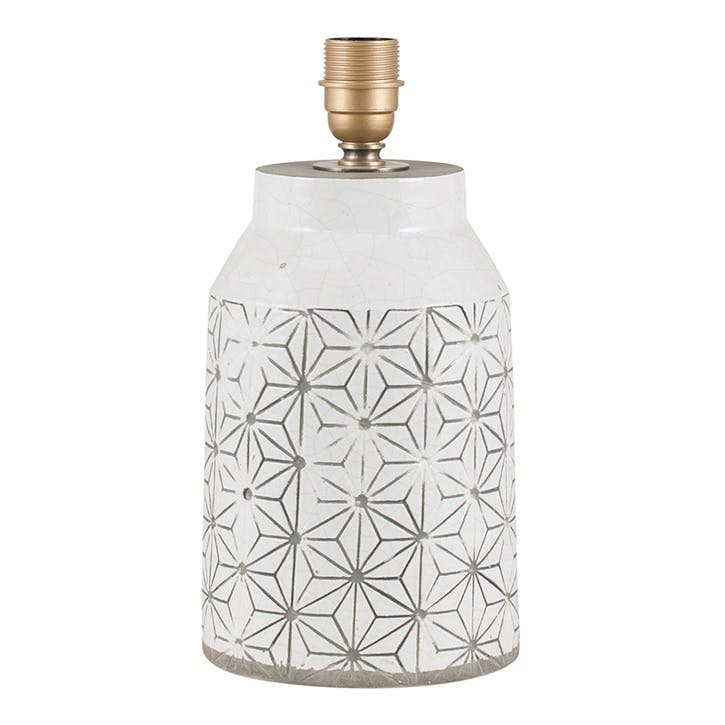 Geometric Etched Stoneware Lamp Base; White