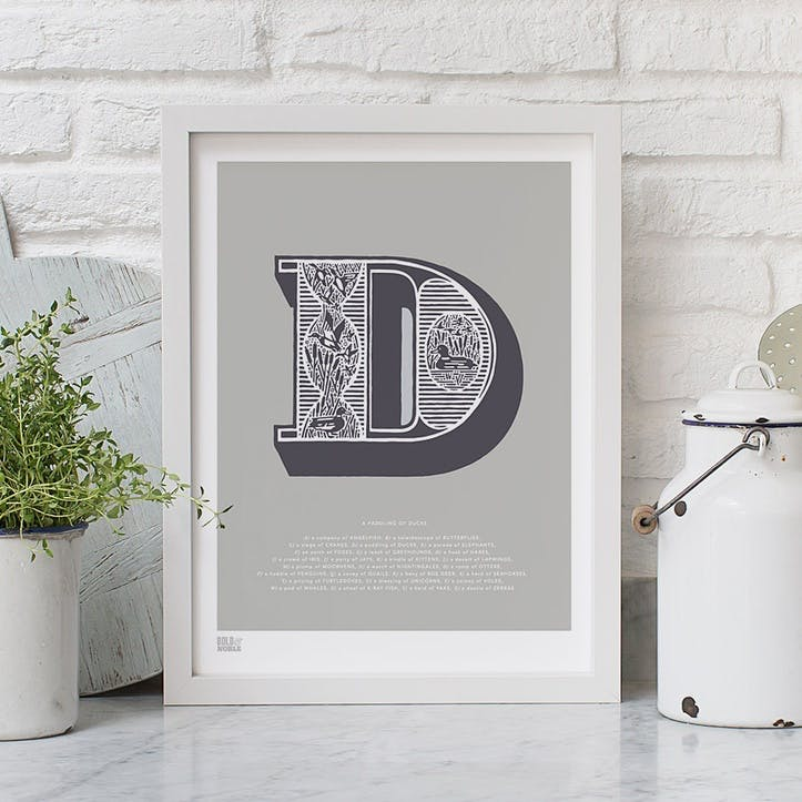 Illustrated Letter D Screen Print, 30cm x 40cm, Putty