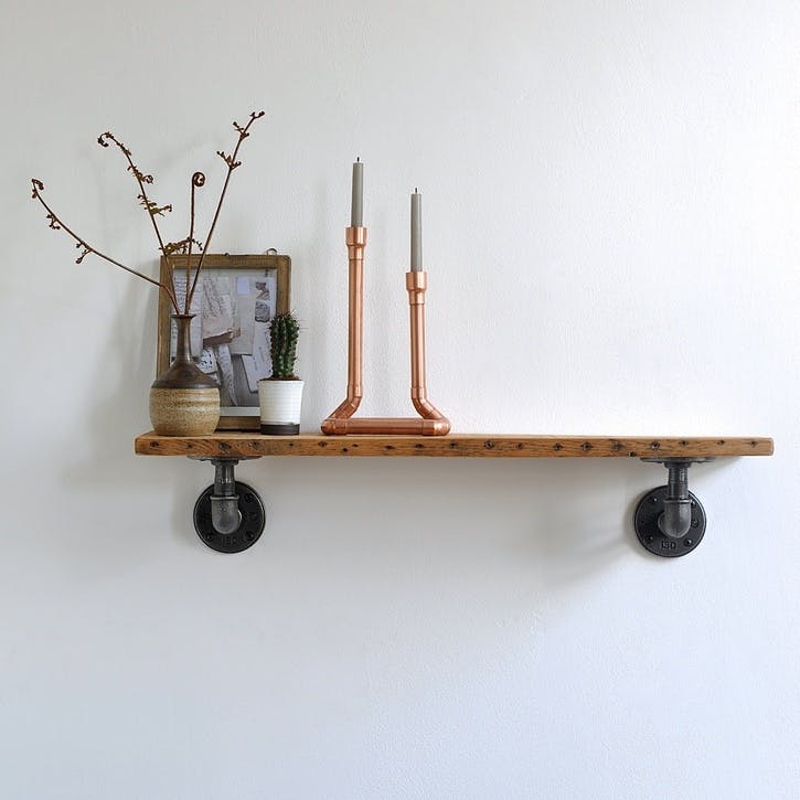 Chalk Farm Reclaimed Industrial Pipe Shelf - 65 x 13cm; Natural