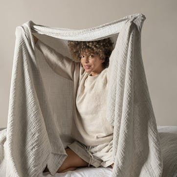 The Linen & Cotton Throw, One Size, Clay