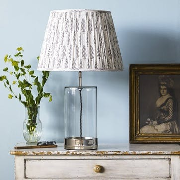Wisteria Regular Table Lamp in Nickel and Clear Glass, 39cm