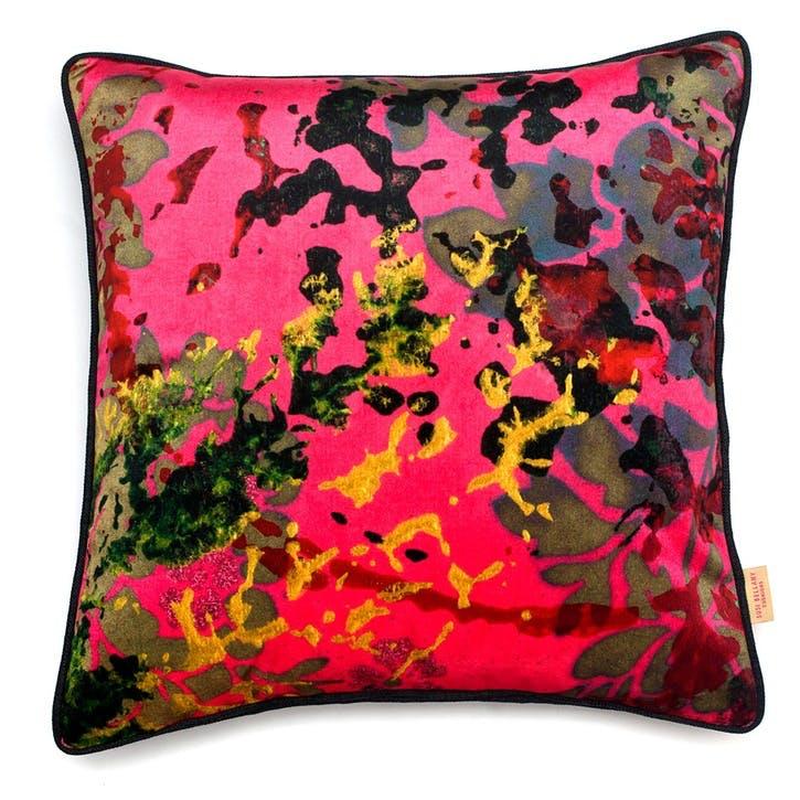 Pink Foliage, Square Velvet Cushion, H49 x W49cm