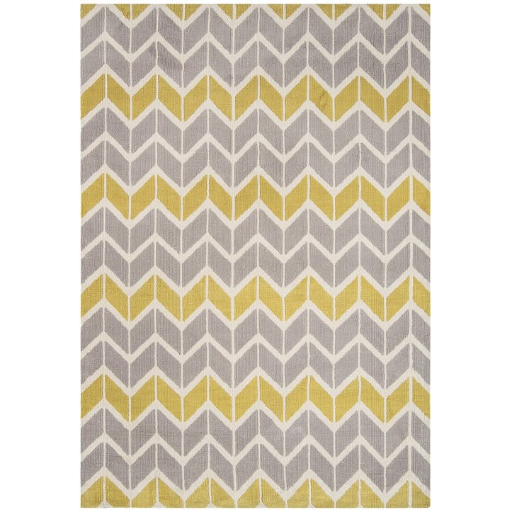 Arlo Chevron Rug - 1.6 x 2.3m; Lemon/Grey