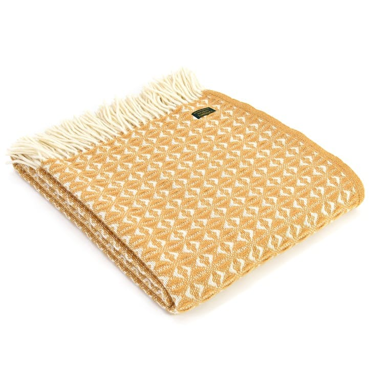 Cobweave Throw; English Mustard