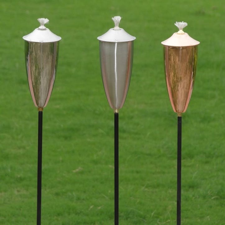Lucca Set of 3 Garden Oil Torches, Copper