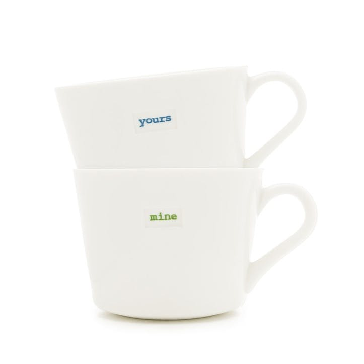 Mini Bucket Mug Pair 'Yours' and 'Mine', 280ml