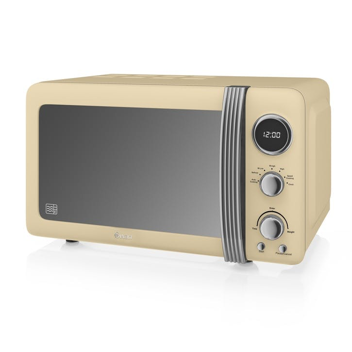 Retro 800W Digital Microwave, Cream