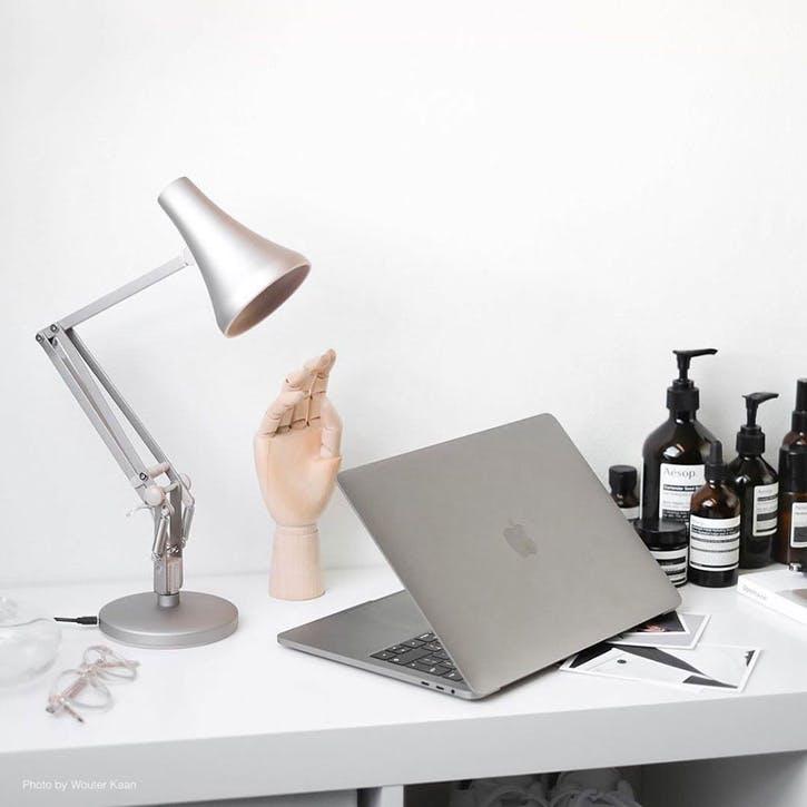 90 Mini Desk Lamp, Blush & Silver
