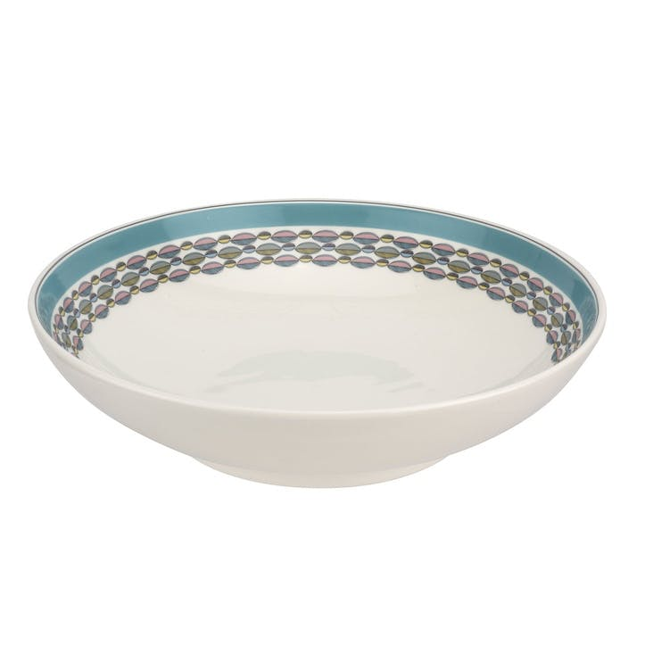 "Westerly Low Bowl, Serving - 12.75""; Turquoise Band"
