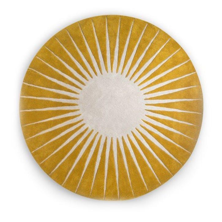 Vaserely Large Circular Wool Rug 200cm, Mustard