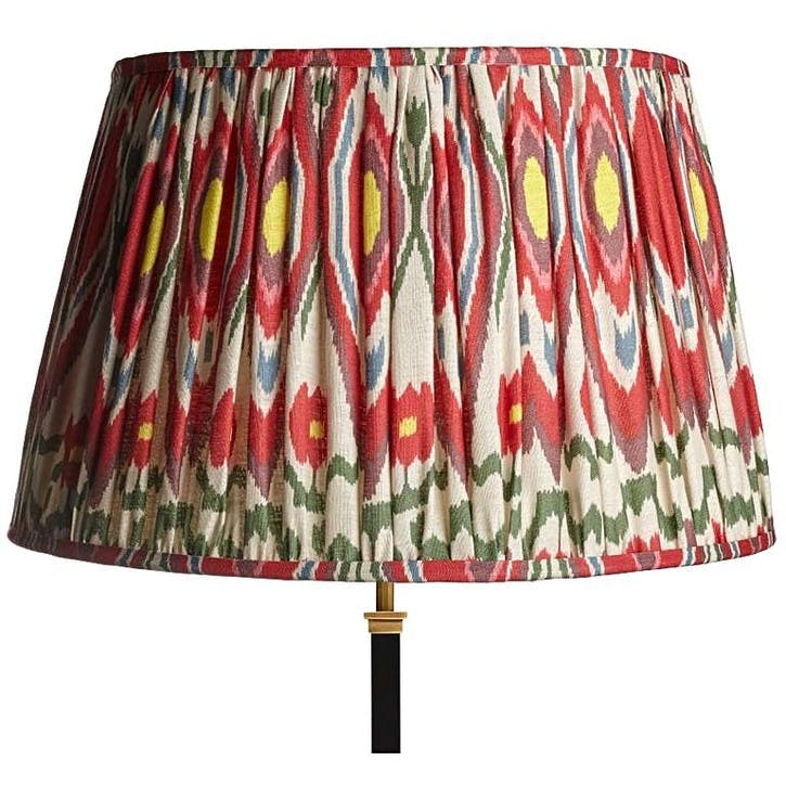 Straight Empire Gathered Lampshade, 50cm,  heraldic ikat