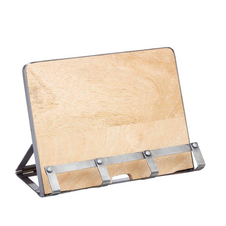 Industrial Kitchen Metal / Wooden Cookbook Stand & Tablet Holder