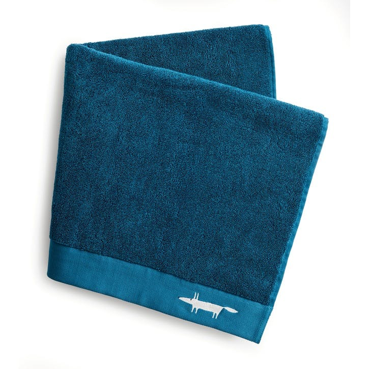 Mr Fox Embroidered Bath Sheet, Lake