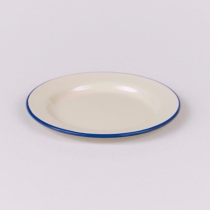 Enamel Plate, Blue Trim