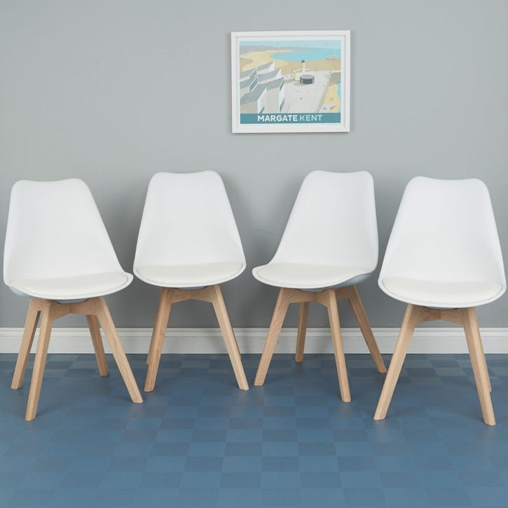 Jerry Dining Chair, White, Set Of 4