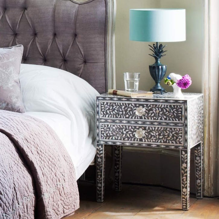 Mother of Pearl Side Table in Grey
