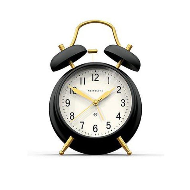 Brick Lane Alarm Clock, Black and Brass