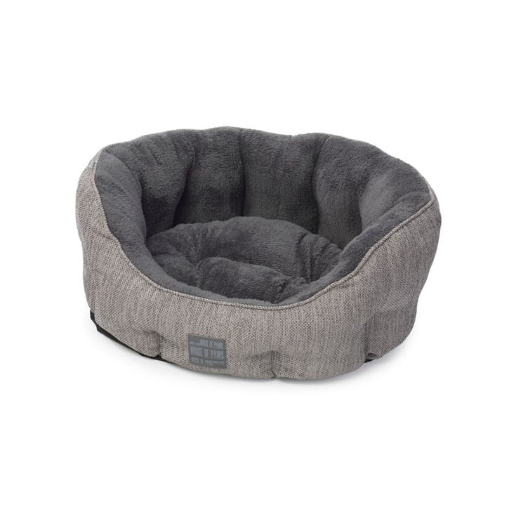 Grey Hessian Oval Snuggle Bed, XSmall
