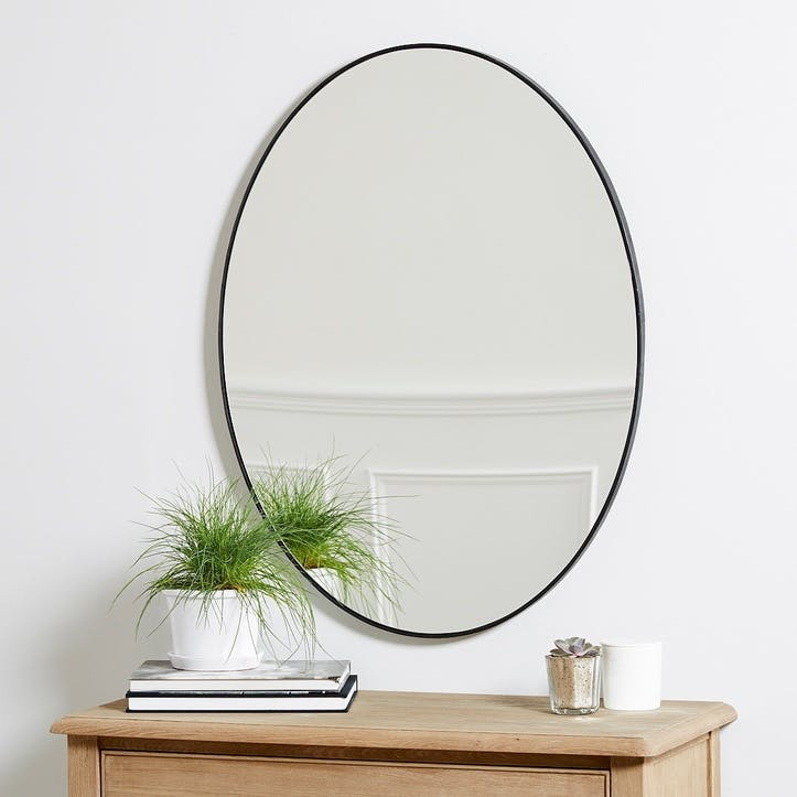 Chiltern Thin Metal Oval Mirror, Black