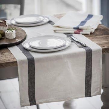 Arles Table Runner, Charcoal Stripe, 47 x 140cm