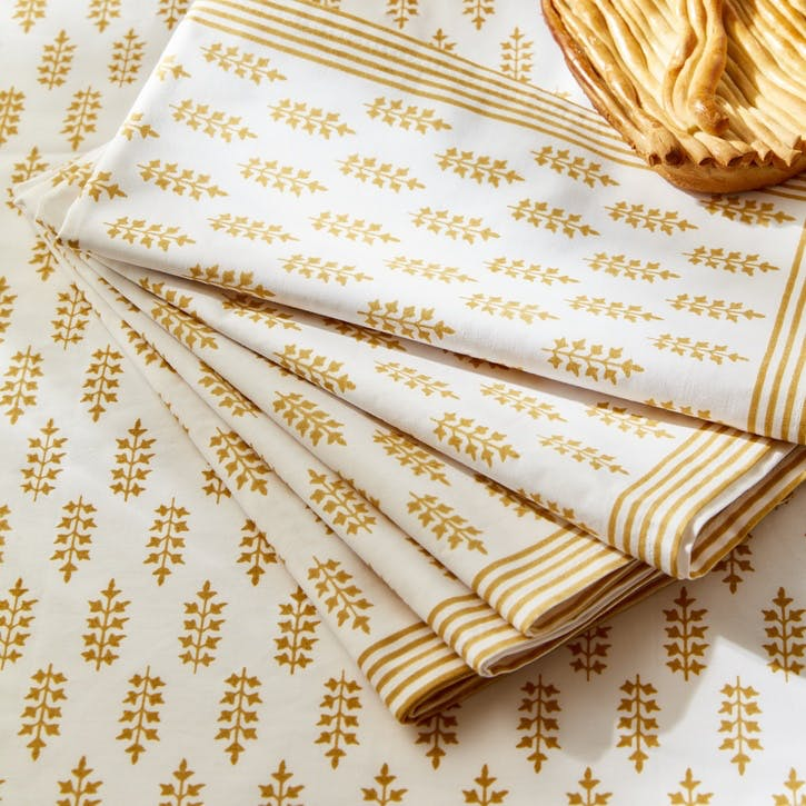 Freya Gold Block Printed Napkins, Set of 4