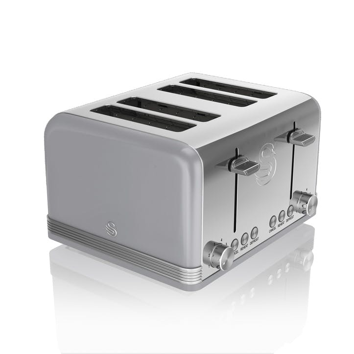 Retro 4-Slice Toaster, Grey