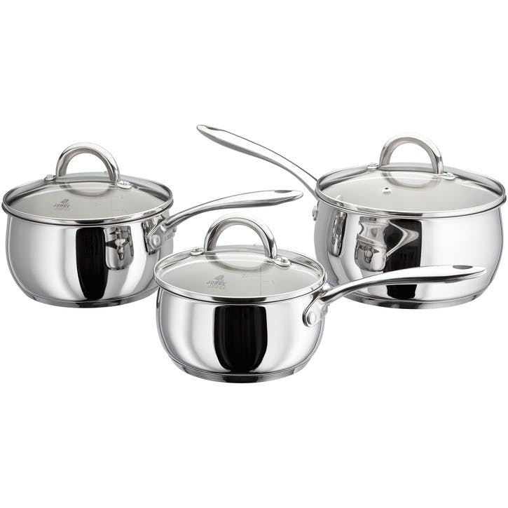 Classic Stainless Steel Saucepan Set, 3 Pieces