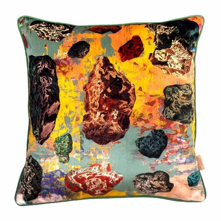 Grey Stucco Pebbles, Square Velvet Cushion, H49 x W49cm